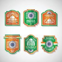 insignes vintage de la fête de l'indépendance de l'inde vecteur