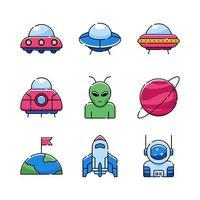 jeu d'icônes ovni et extraterrestre vecteur
