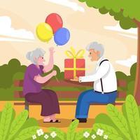 vieux couple célébrant la journée d'appréciation de la femme vecteur