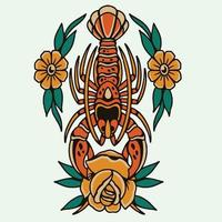 homard d'art avec rose rouge vecteur