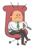 dessin animé assis dans une chaise de patron jambes croisées et illustration vectorielle nerveuse vecteur
