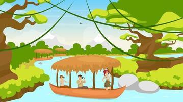 touristique en illustration vectorielle plane de bateau. groupe en voyage en bateau. naviguant sur le ruisseau de la rivière. paysage de forêt tropicale. forêt méditerranéenne avec cours d'eau. personnages de dessins animés féminins et masculins vecteur