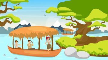 touristique en illustration vectorielle plane de bateau. groupe en voyage en bateau. naviguant sur le ruisseau de la rivière. paysage de forêt tropicale. forêt mystique avec cours d'eau. personnages de dessins animés féminins et masculins vecteur