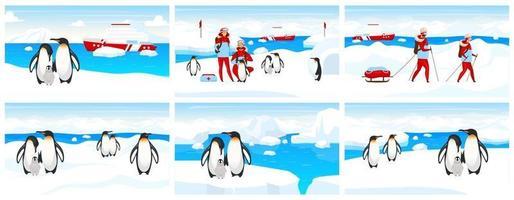 illustration vectorielle plane d'expédition antarctique. colonie de manchots empereurs sur iceberg. paysage du pôle nord avec des gens et des créatures. groupe de trekking dans la neige. personnages de dessins animés vétérinaires et animaux vecteur