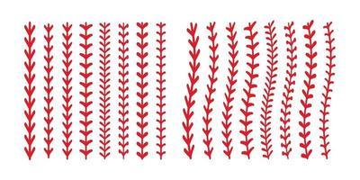 le point rouge ou la couture du baseball isolé sur fond blanc. vecteur