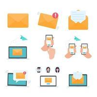 lettre vectorielle sur écran d'ordinateur le concept de communication par e-mail vecteur