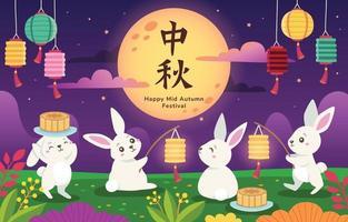 lapins mignons célébrant le festival de la mi-automne vecteur