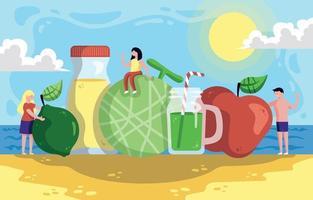 fruits d'été sur la plage vecteur