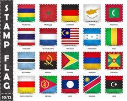 timbre avec le motif officiel du drapeau du pays et l'ancienne texture grunge et le nom du pays. forme carree . vecteur. ensemble 10 sur 12 sur cette série. tous les drapeaux nationaux du monde. vecteur