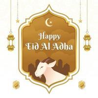 eid al adha mubarak avec fond d'illustration de chèvre vecteur