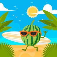 personnage de pastèque d'été avec planche de surf vecteur