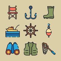 icônes d'équipement de matériel de pêche vecteur