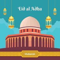 eid al adha mubarak avec mosquée et lanternes vecteur