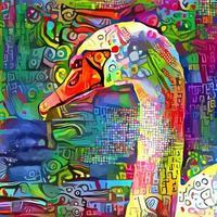 peinture abstraite de cygne impressionniste vecteur