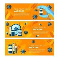 ensemble de bannières de vaccin contre le coronavirus vecteur