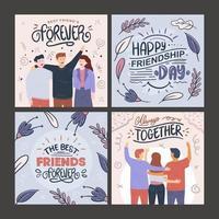 collection de cartes de voeux d'amitié vecteur