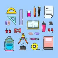illustration de fournitures scolaires vecteur