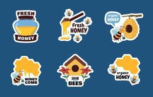 collection d'autocollants d'abeilles vecteur