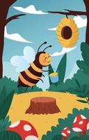 concept mignon de protection des abeilles vecteur
