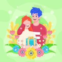 le mari surprend sa femme avec un cadeau et de l'amour vecteur