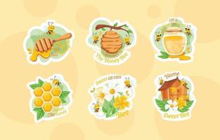 adorable personnage d'abeille avec un ensemble d'autocollants d'éléments de miel vecteur