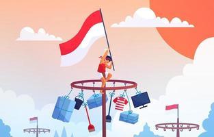 indonésie 17 août célébration de la fête de l'indépendance vecteur