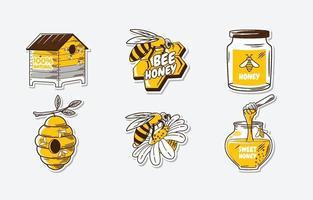 autocollant doux d'abeille de miel vecteur