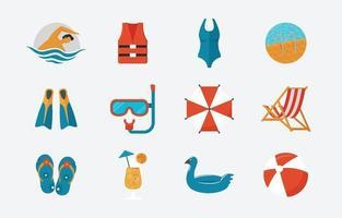 fête de la piscine en icône d'été vecteur