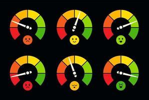 ensemble de logos de compteur de vitesse, de baromètre, de carburant et de jauge d'essence. indicateur à cadran avec emoji, collection de logotypes de capteur de tableau de bord. mètres ronds colorés, échelle de performance commerciale. vecteur