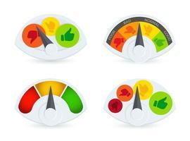 speedomeret coloré, baromètre, jeu de logos de jauge de carburant. collection de logotypes d'indicateur d'examen des performances commerciales. pouces vers le haut et vers le bas des symboles de capteur de progression. vecteur