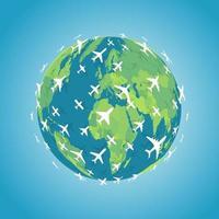 de nombreux avions blancs volant dans une direction autour de la terre. icône de vol intercontinental d'avions. emblème de voyage autour du monde. illustration vectorielle de navigation aérienne. vecteur