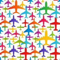 arrière-plan transparent d'avion. modèle de modèle coloré de transport d'avions. texture reproductible de vecteur d'aviation.