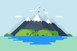 haute montagne avec forêt de collines verdoyantes et paysage naturel de lac bleu. les grimpeurs routent le sentier jusqu'au sommet du rocher et le drapeau rouge au sommet. victoire et surmonter les difficultés illustration vectorielle symbole vecteur