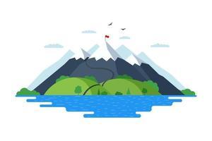 haute montagne avec forêt de collines vertes et lac bleu nature paysage plat illustration vectorielle. sentier des grimpeurs jusqu'au sommet du rocher et drapeau rouge au sommet vecteur