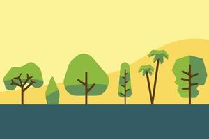collection de conception plate d'arbre et d'arbuste de simplicité. illustration vectorielle. vecteur