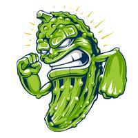 Art de vecteur mascotte concombre puissant