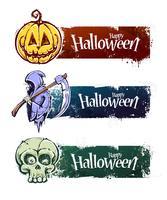 Bannières d'halloween dessinés à la main vecteur