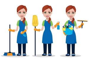personnel de l'entreprise de nettoyage en uniforme vecteur