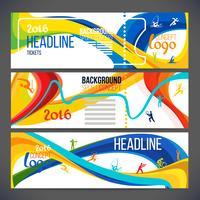 La composition vectorielle d'une vague de bandes de couleurs différentes est entrelacée, notamment les symboles du sport.