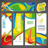 La composition vectorielle d'une vague de bandes de couleurs différentes est entrelacée, notamment les symboles du sport. vecteur