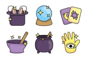paquet d'icônes de jeu de sorcellerie magique vecteur
