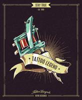 Affiche de légende de tatouage vecteur