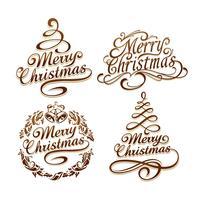 Jeu de typographie de Noël vecteur