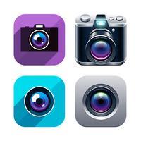 Jeu d'icônes photo app vecteur