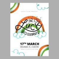 St. Patrick's Flyer avec arc-en-ciel, nuages et lettrage vecteur