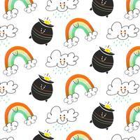 Motif mignon irlandais avec nuage, pot irlandais et personnage arc-en-ciel vecteur