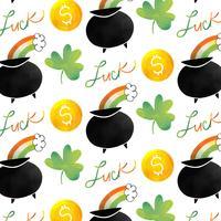 Joli motif irlandais avec pot irlandais, arc en ciel, pièce de monnaie et trèfle vecteur