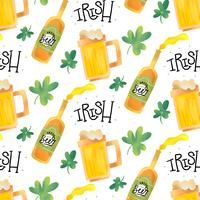 Joli motif irlandais avec bière, chope, trèfle et lettrage vecteur