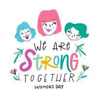 Jolies filles avec un message fort sur la journée de la femme. vecteur