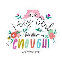 Jolie fille rose avec des fleurs et des feuilles avec un message puissant sur la journée de la femme vecteur